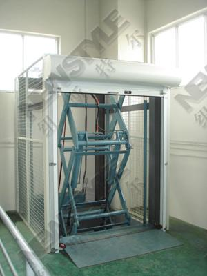 The second floor of the cargo lift platform